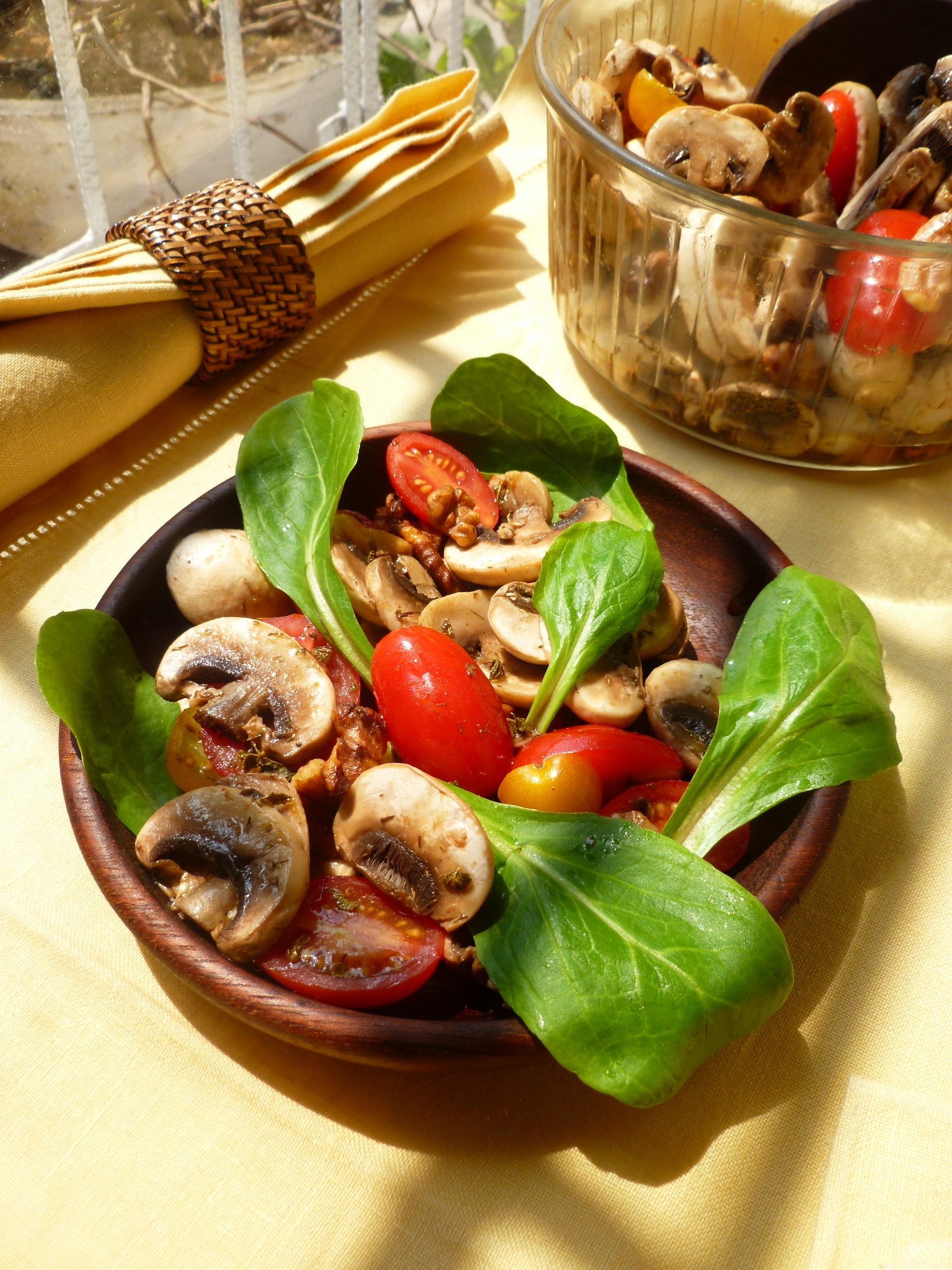 Salad of Marinated Mushrooms, Red Grape,Yellow and Red Cherry Tomatoes ...