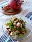 romaineapplecucumberitalianparsley salad with pomegranate seeds 021