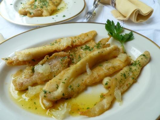 strawhaymushroomprosciuttopasta sole eith lemon butter sauce 059