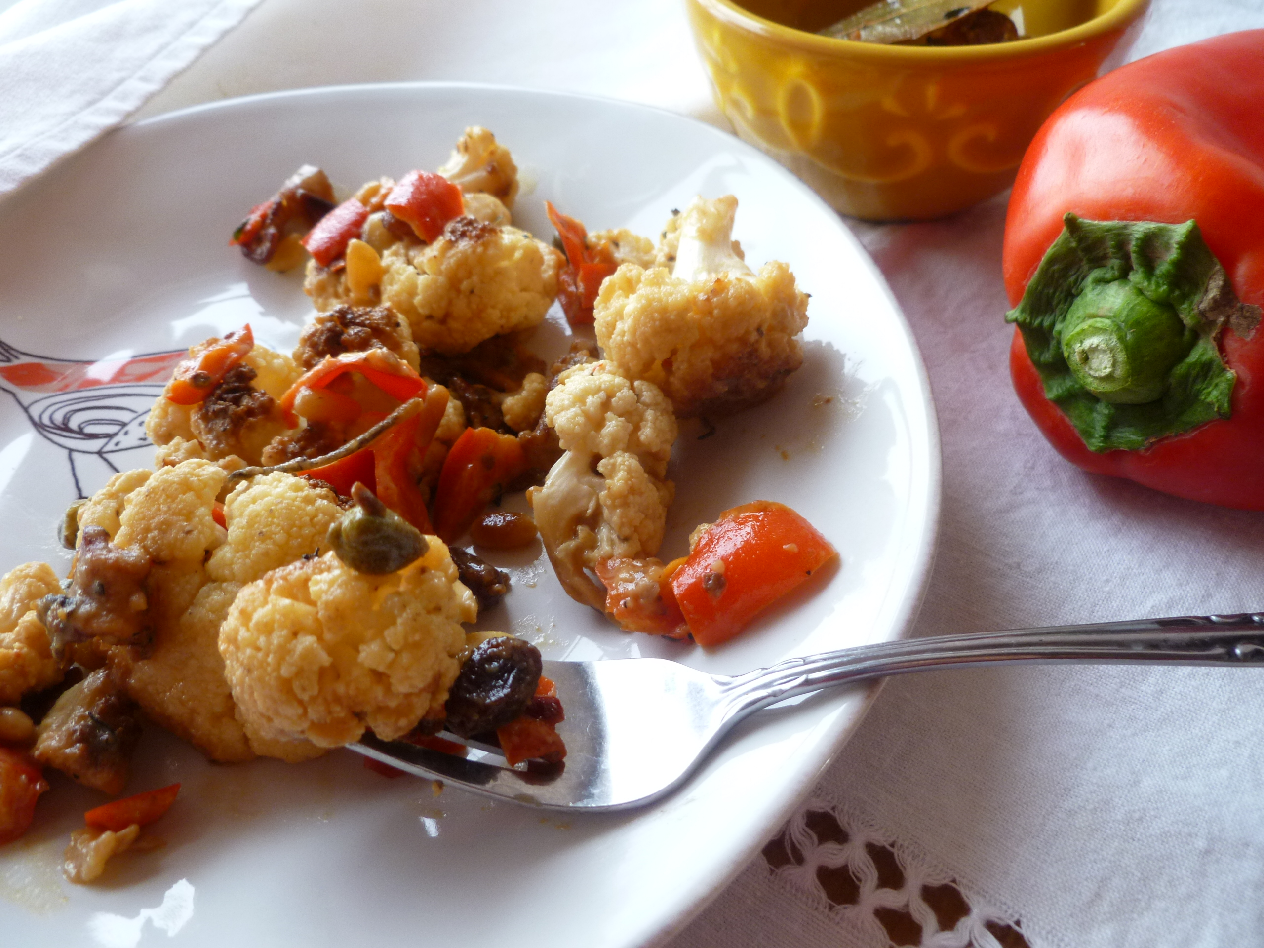 Cauliflower with Bacon, Capers, Raisins, Pine Nuts and ...