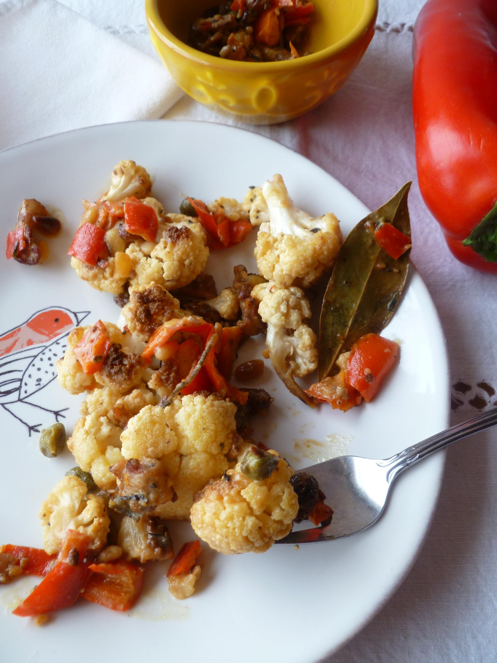 Cauliflower With Almonds, Raisins And Capers Recipe — Dishmaps