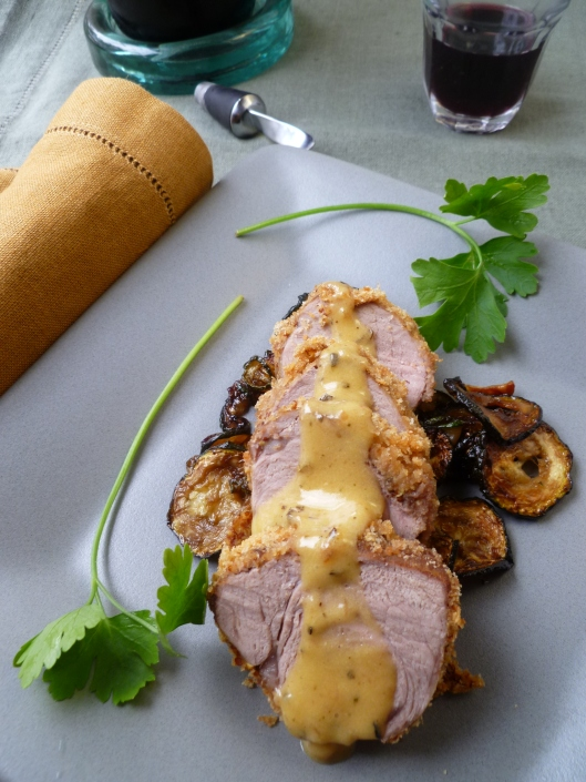 Dijon-roased Pork Tenderloin with Sage-Butter Sauce