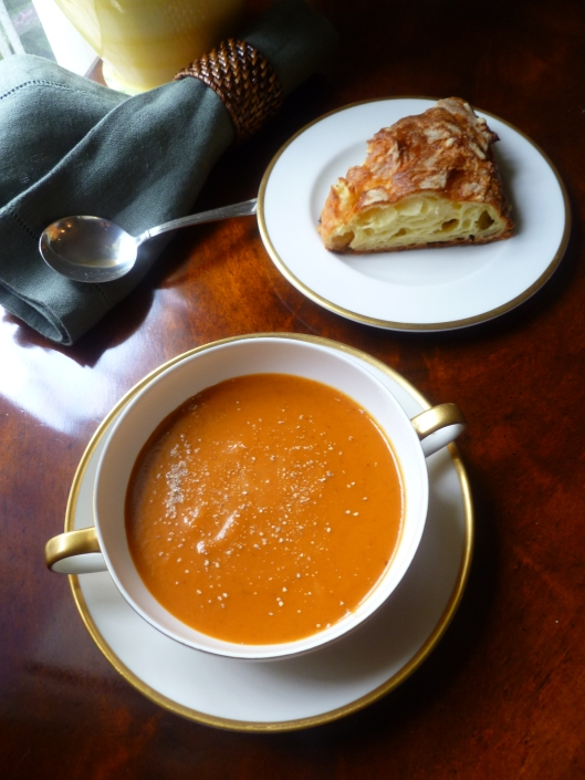 Roasted Tomato Soup with Gougère